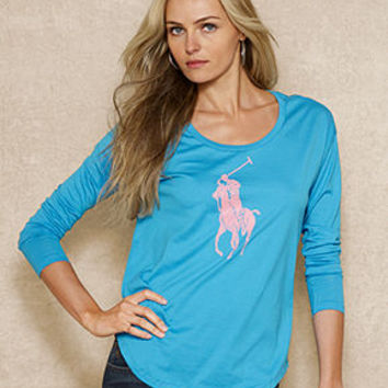 Ralph Lauren Top, Pink Pony Long-Sleeve Tee - Tops - Women - Macy's