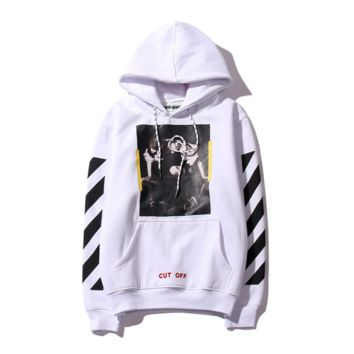 Off white new models of the base section of oblique striped cotton men and women Hooded sweater coat tide White