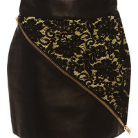 Leather and Lace Zipper Skirt