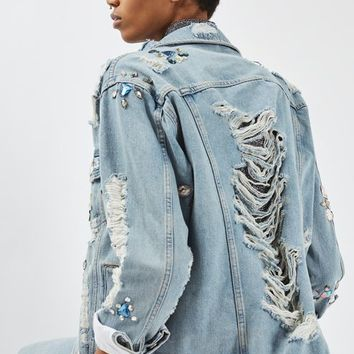 MOTO Crystal Embellished Denim Jacket