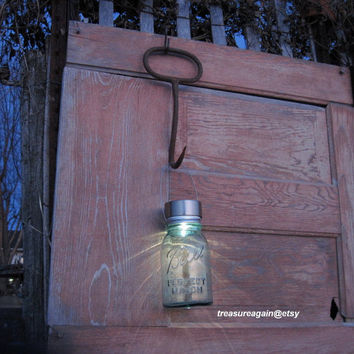 Recycled Garden Solar Light Rustic Hay Hook Garden Decor Mason Jar Solar Light Upcycled Gardening Tools Ball Jar Solar Lantern