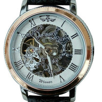 Silver and Rose Wind-Up Wrist Watch
