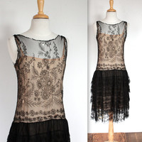 Vintage 1920's Dress // 20s Embroidered Mesh and Lace Flapper Dress // Art Nouveau Floral // DIVINE