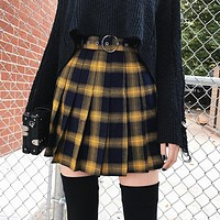 Yellow Pleated Plaid Skirt