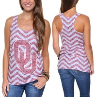 Oklahoma Sooners Ladies Chevron Racerbank Tank Top - Cream/Crimson