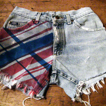 Unraveled, Red/Blue Striped, Highwaisted Jean Shorts