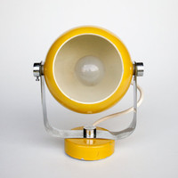 Atomic Yellow Wall Lamp / 70's Vintage Space Age Lighting