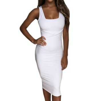 Women Summer Bodycon Dress Scoop Collar Sleeveless O-neck Sexy Dresses Sheath Clubwear Party Dress Vestidos De Festa Femme GV575