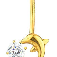 14k Yellow Gold Belly Button Ring Dolphin with CZ Stone