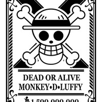 Wanted Monkey D Luffy dead or alive cartel vector files instant download