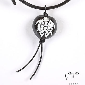 VujuWear Kukui White Turtle Design Pendant Men's Leather Necklace