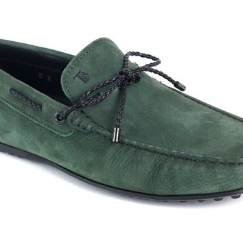 Tod's Men's Green Leather Gommini Driving Loafers
