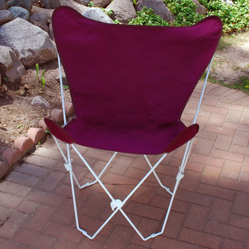 Algoma Net Company 4052-116 White Butterfly Chair with Burgundy Cover