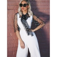 White Tie Neck Polka Dot Mesh Panel Jumpsuit