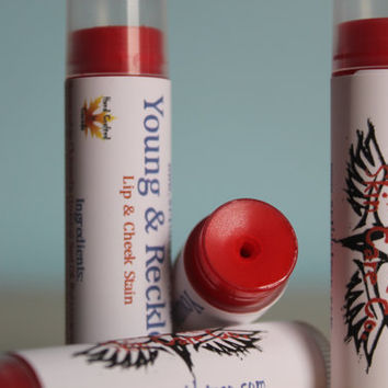 Sheer Red Lip Tint, Lip and Cheek Stain, Lip Moisturizer, Natural Red Lipstick, Red Tinted Lip Balm, Five Shades of Red, Sunscreen