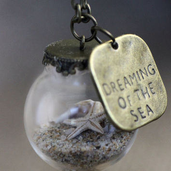 Miniature Beach Globe - Sand Shells Starfish - Beach Necklace - Tiny Beaches - Beach Glass Jewelry - Beach Vial Jewellery