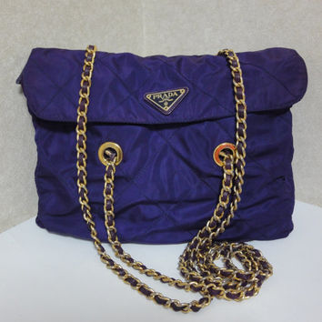 Vintage PRADA classic quilted nylon purple shoulder tote bag with gold tone chain long handles. Must have.