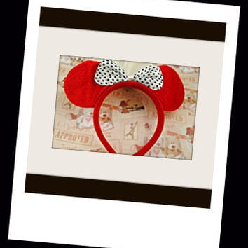 Baby infant size Minnie Mouse Ears Headband Red with white bow baby boy baby girl