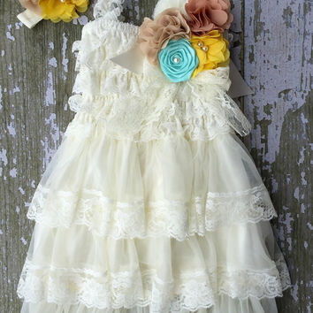 Rustic girl dress, sash, ivory country Champagne, cream lace chiffon dress, flower girl, bridal wedding, shabby chic, vintage, ruffle, child