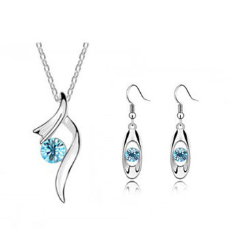 Wedding Jewelry Sets Necklaces Pendants Silver Plated Dangle Earrings