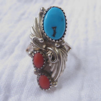 Navajo Sterling Ring, Turquoise Coral, Signed Scott Dave, Vintage Navajo Artisan, Old Pawn Jewelry, Size 6.5