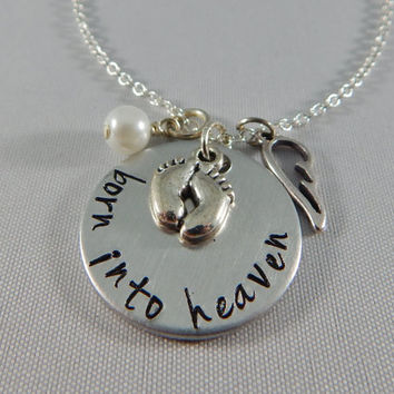 """Miscarriage Necklace - """"born into heaven"""" Hand Stamped Necklace with Angel Wing and Crystal Pearl - Memorial - Remembrance - Loss of a Child"""