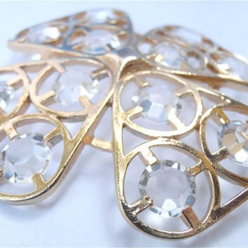 Clear Crystal Brooch Pin Four Leaf Clover by VillaCollezione