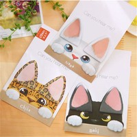 1X Cute Kawaii Cat Ear Sticky Notes Memo Pads Planner Stickers Post it School Stationery Office Supply Notepads