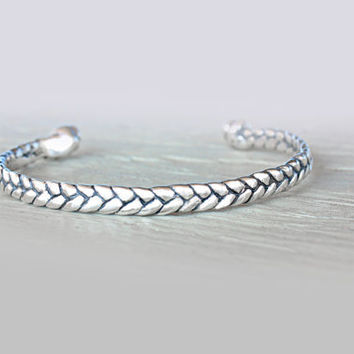 Silver Cuff Bracelet Braided Silver Cuff Bracelet Sterling Silver Bangle Friendship Bracelet Braid Silver Cuff Bohochic Cable Bracelet Wire