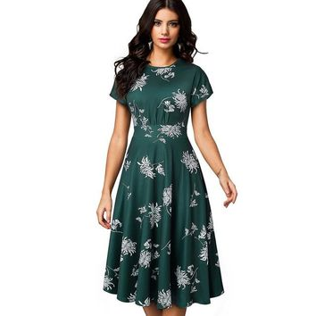 Green Vintage Elegant Floral Print Pleated Round Midi Dress