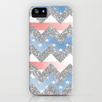 american flag glitter chevron iPhone & iPod Case by Hannah