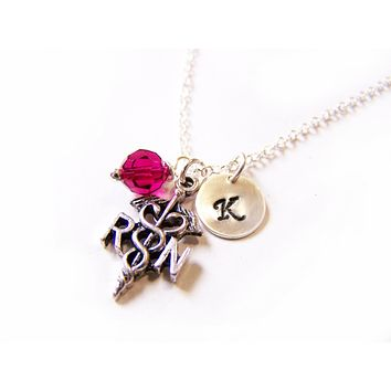 Registered Nurse RN Caduceus Stamped Initial Swarovski Crystal Birthstone Sterling Silver Necklace / Gift for Her