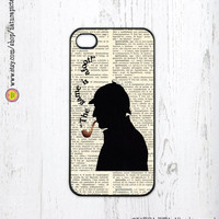 Sherlock Holmes the game is afoot on vintage dictionary page for iphone case 4/4S- iphone case 5/5S -Galaxy S4 -Design by Natura Picta-NP040