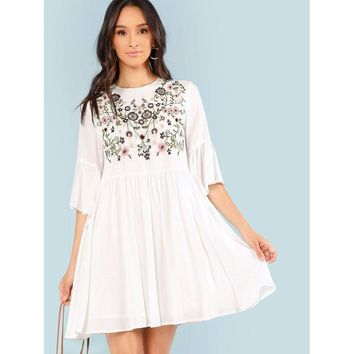 Embroidery Appliques Floral Dress