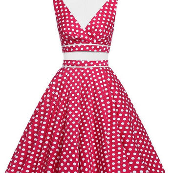 Women Rockabilly swing Clothing pin up Dress robe Polka Dots vestidos Summer style Retro two piece 50s 1960s Vintage Dresses