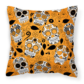 Day of the Dead Orange Fabric Decorative Pillow BB5118PW1414