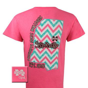 MSU Mississippi State Bulldogs State Pink Chevron Girlie Bright T Shirt