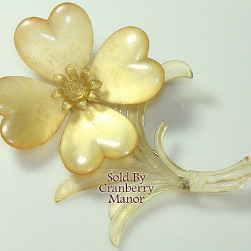 Celluloid Flower Brooch Pin, Pearlescent Moonglow Floral Figural, Extra Large Cellulose 1920s Vintage Fashion, Plastic Costume Jewelry J2459