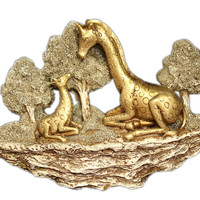 Golden Giraffe Family  Landscape Scene  Wall Décor