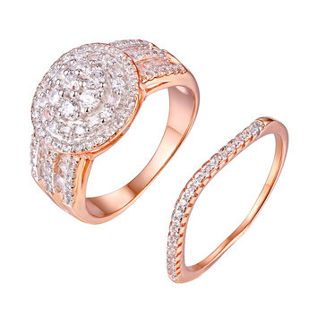Cluster Set Womens Ring Rose Gold On 925 Silver Cubic Zirconia Wedding Engagement