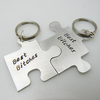 Best Bitches Set of TWO, Personalized Puzzle Piece Set, Puzzle Pieces, Puzzle Piece Key chain Set of 2  Best Bitches