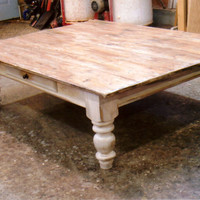 Farmhouse white scrubbed pine coffee table by Furnacebrook on Etsy