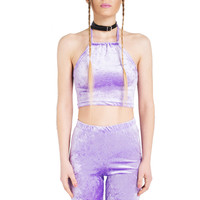 PURPLE VELVET CO-ORD HALTER TOP CYCLING SHORTS TUMBLR – Minga London