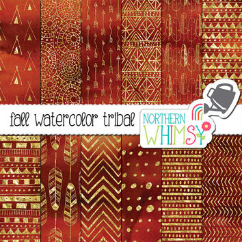 "Autumn Digital Paper - ""Fall Watercolor Tribal"" - gold tribal patterns on a watercolor background - boho scrapbook paper - commercial use"