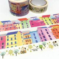 colorful city washi tape 5Mx 3 cm europe town cute house brick house fairytale city scenes hometown landscape sticker tape wide tape decor