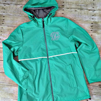 Charles River New Englander Raincoat | Monogram Raincoat | Monogram Rain Coat | Monogram Rain Jacket | Monogram Waterproof Jacket