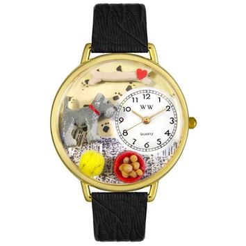 SheilaShrubs.com: Unisex Schnauzer Black Skin Leather Watch G-0130066 by Whimsical Watches: Watches