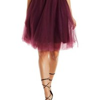 Dark Purple Tulle Full Midi Skirt by Charlotte Russe