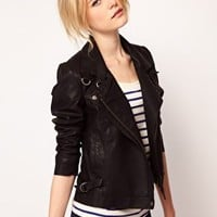 French Connection Faux Leather Biker Jacket at asos.com
