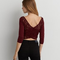 AEO CROSS BACK CROPPED T-SHIRT